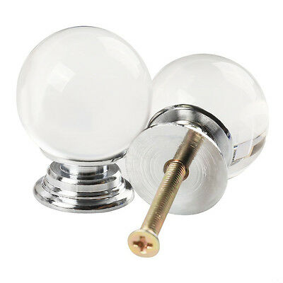 5X 40mm Round Ball Crystal Glass Cabinet Knob Cupboard Drawer Pull Handle