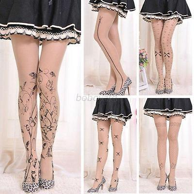 Women Tattoo Pattern Sheer Pantyhose Socks Animal Printed Tights Stockings