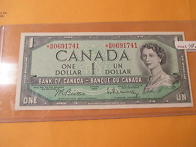 1954 $1 Bank Of Canada Unc (Star Note)