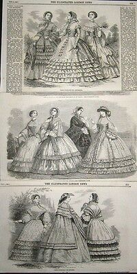 3 orig. Stiche 1859: PARISER MODE