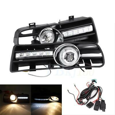 2x H3 Car Fog Light DRL LED With Front Grilles For VW Golf GTi TDI MK4 97-06 DH