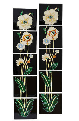 Set of 10 ceramic replika art nouveau tiles in antique style handpainted set(e)