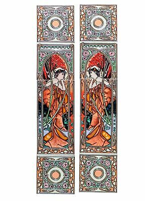 Set  of 10 ceramic replika art nouveau tiles in antique style handpainted set(h)