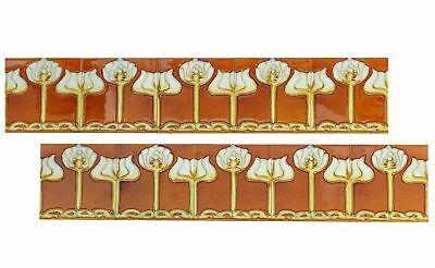 Set of 10 ceramic replika art nouveau tiles in antique style handpainted set (r)