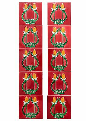 Set of 10 ceramic replika art nouveau tiles in antique style handpainted set(p)