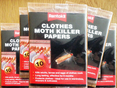 Clothes Moth Killer Papers Rentokil Pk10, KILLS ADULT MOTHS, LARVAE AND EGGS.