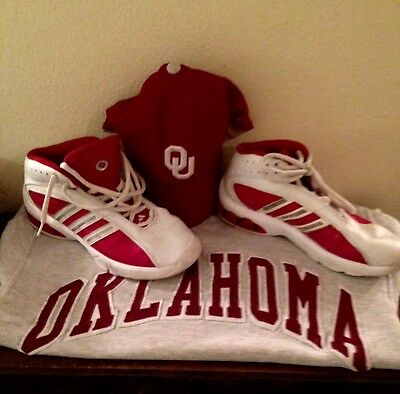 Adidas Leather High-Tops OU Red on White Free Oklahoma Sweatshirt & Nike BallCap
