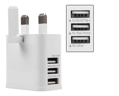 UK 3 Pin USB Wall Plug Fast Charger Power Adapter Cell Phone Universal Samsung