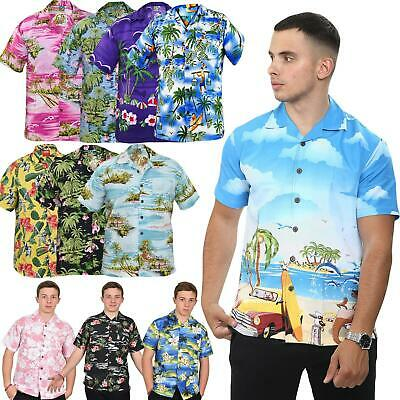 Mens True Face Hawaiian Beach Flamingo Mountains Spring Short Sleeves Shirts