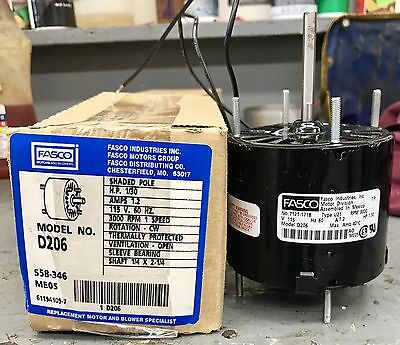 Fasco M/N D206 3.3-Inch Shaded Pole Motor 1/30 HP 115 Volts 3000 RPM 1 Speed