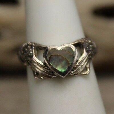 Vintage Sterling Silver Abalone Heart Irish Marcasite Claddagh Ring, Size 5.75