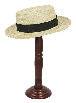 1920's Old Time BOATER Great Gatsby Straw Skimmer Flat Costume Hat
