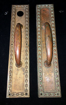 RARE!  PAIR 16 inch antique RUSSWIN Brass Door Handles with Provenance