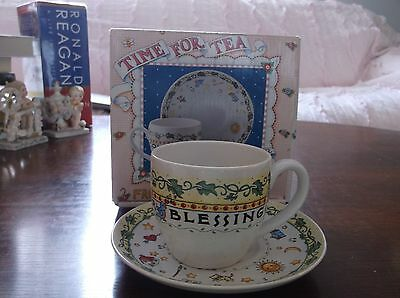 Mary Engelbreit Tea Cup And Saucer Count Your Blessings Mint With Box