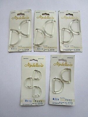 "Lot of 5 Modella Buttoncraft Clear Plastic D-Ring Hooks Buckles 3/4"" to 1 1/2"""