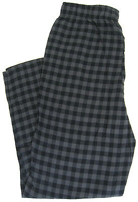 NEW Mens Flannel Lounge Pants Black Gray Plaid 100% Cotton Pajamas Sizes S-3XL