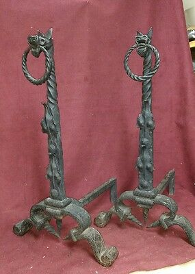 Arts and Crafts Wrought Iron Andirons Yellin or Yellin Type Antique