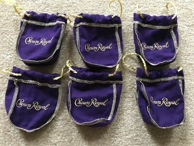 "Crown Royal Bag - Purple and Gold- ""New"" 50 Ml Set Of Six"