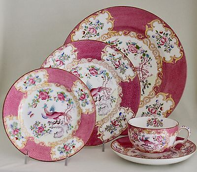 MINTON Pink Cockatrice 5-Piece Place Setting Globe & Wreath Marks 9646 England