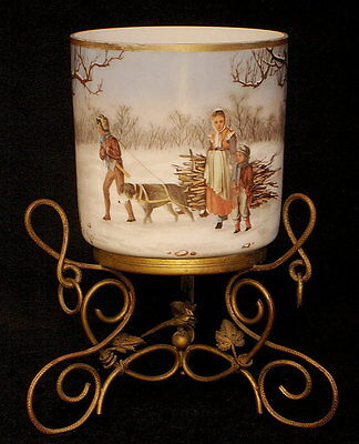 Victorian Hand Painted Lithophane And Bronze Stand Candle Holder