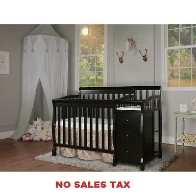 4-in-1 Mini Convertible Crib With Changer Portable Baby Kids Nursery Furniture