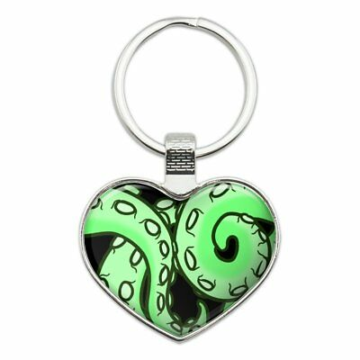 4387be8382d4 TENTACLES SQUID OCTOPUS Green Heart Love Metal Keychain Key Chain Ring