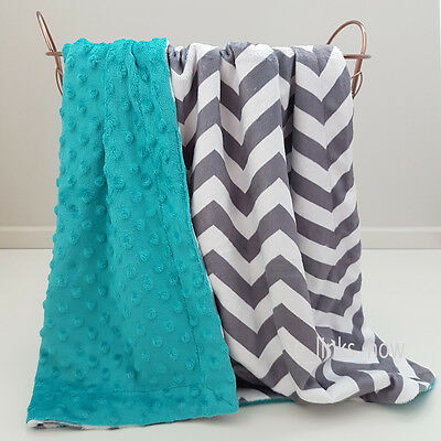 NEW COLOUR! 70cm x100cm Baby Minky Blanket Stroller Cot Gift Chevron Grey Teal