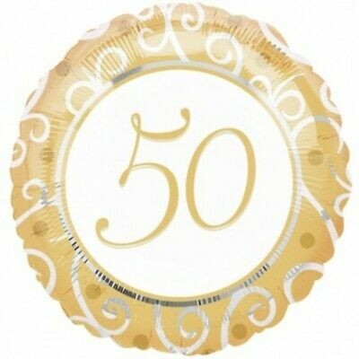 50th Birthday Anniversary Party Supplies Gold And Silver Foil Balloon Decoration