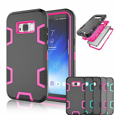 Samsung Galaxy S8 / S8 Plus + Rugged Rubber Hard Armor Shockproof Case Cover