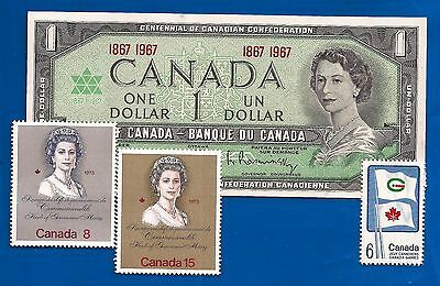 1867 1967 CANADA Canadian CENTENNIAL one 1 DOLLAR BILL NOTE crisp UNC + stamps