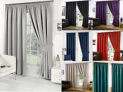 Thermal Pencil Pleat Blackout Pair Of Curtains Ready Made Fully Lined Tiebacks