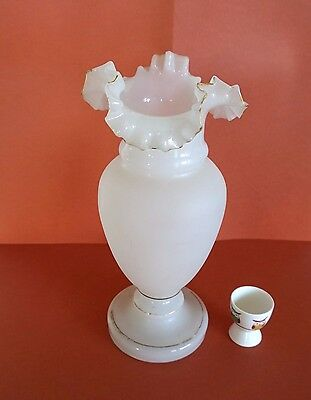 Large Victorian Frilly Top Milk Glass Vase wear to the Gold trim