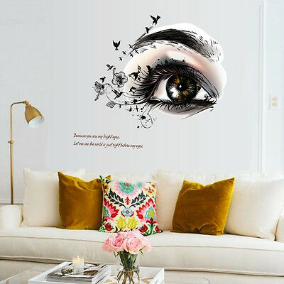 Beauty Women Big Eye Wall Quote Stickers PVC Decal Hair Salon Barbershop Decor