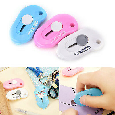 1× Mini Portable Paper Cutter Razor Blades Keychain Pendant Office Stationery
