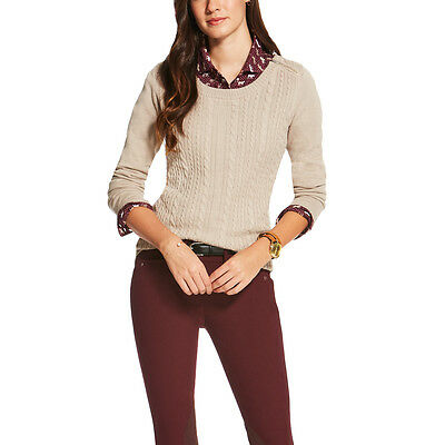 Ariat Supimo Cable Knit Sweater - Ladies - OATMEAL HEATHER - Different Sizes