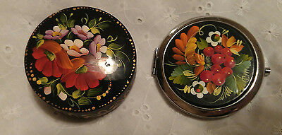 Beautiful lacquer Hand painted trinket box with flowers and a compact mirror