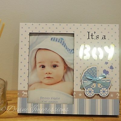 It's a Boy LED Wooden Photo Picture Frame Night Light Blue Nursery Decor Baby