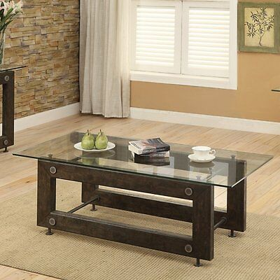 Urban Gl Top Coffee Table Rustic Wood Exposed