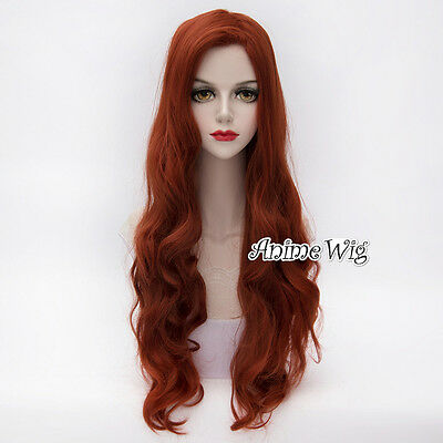 2017 Copper Red Jessica Rabbit Wavy Long Anime Cosplay Wigs+ Free Wig Cap