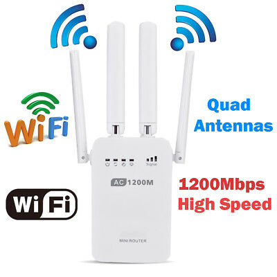 1200M Wireless Range Extender Dual-band WiFi Repeater Booster Router w/ Antennas