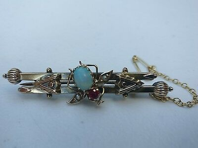 Antique Ruby & Opal & Pearl & 15ct Gold Insect Brooch
