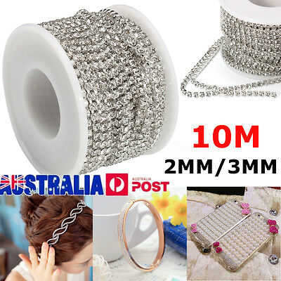 10M Chain Trim Rhinestone Crystal Glass Gem Cup Ribbon Sparkle Diamante 2MM /3MM