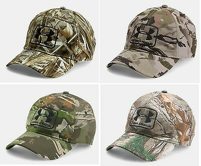 New Under Armour UA Men's Realtree Camo Stretch Fit Cap Curved Bill Hunting Hat