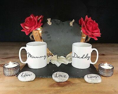 New Mummy and Daddy G 2x Mug Coffee Cup Gift Set