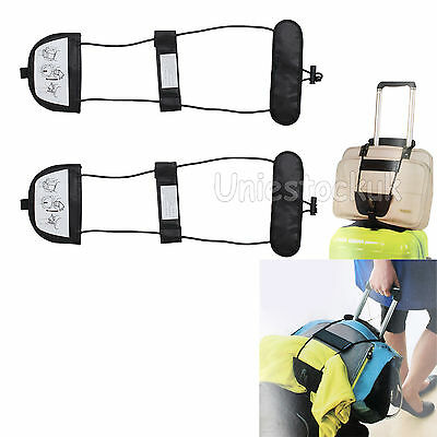 2x Add A Bag Strap Travel Luggage Suitcase Adjustable Belt Carry On Bungee Easy