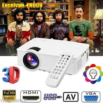 Video Projecteur 1200Lm 1080P Hd Led 3D Home Cinema Usb/av/atv/hdmi/vga Fr Stock