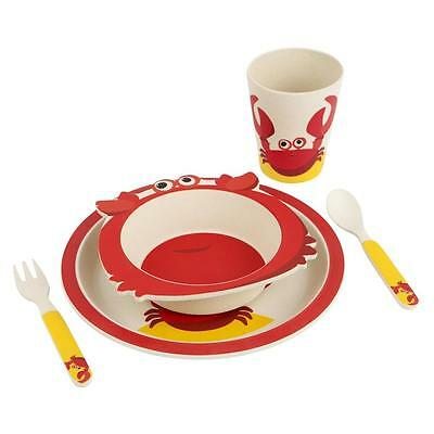 NEW Sunnylife Eco Kids Bambo Dinner Set - Crabby - Plate, Bowl, Cup & Cutlery
