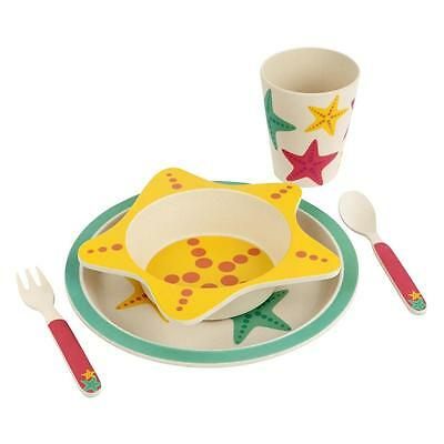 NEW Sunnylife Eco Kids Bambo Dinner Set - Star Fish - Plate, Bowl, Cup & Cutlery