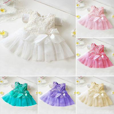 Baby Girls Toddler Party Princess Lace Tutu Newborn Knot Flower Dress Tops 0-12M