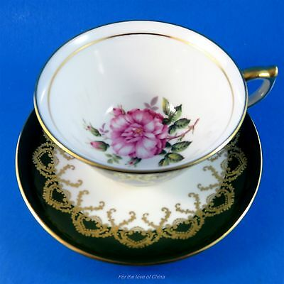 Deep Green Border with Pink Rose Center Aynsley Tea Cup and Saucer Set